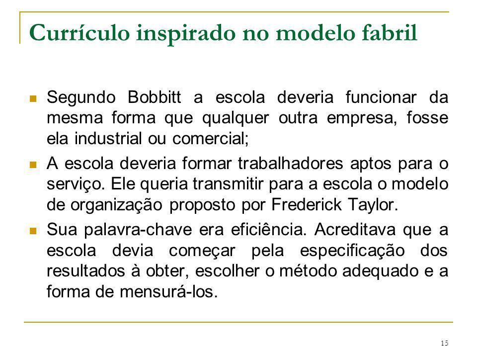 15 Currículo inspirado no modelo fabril Segundo Bobbitt a escola deveria funcionar da mesma forma que qualquer outra empresa, fosse ela industrial ou