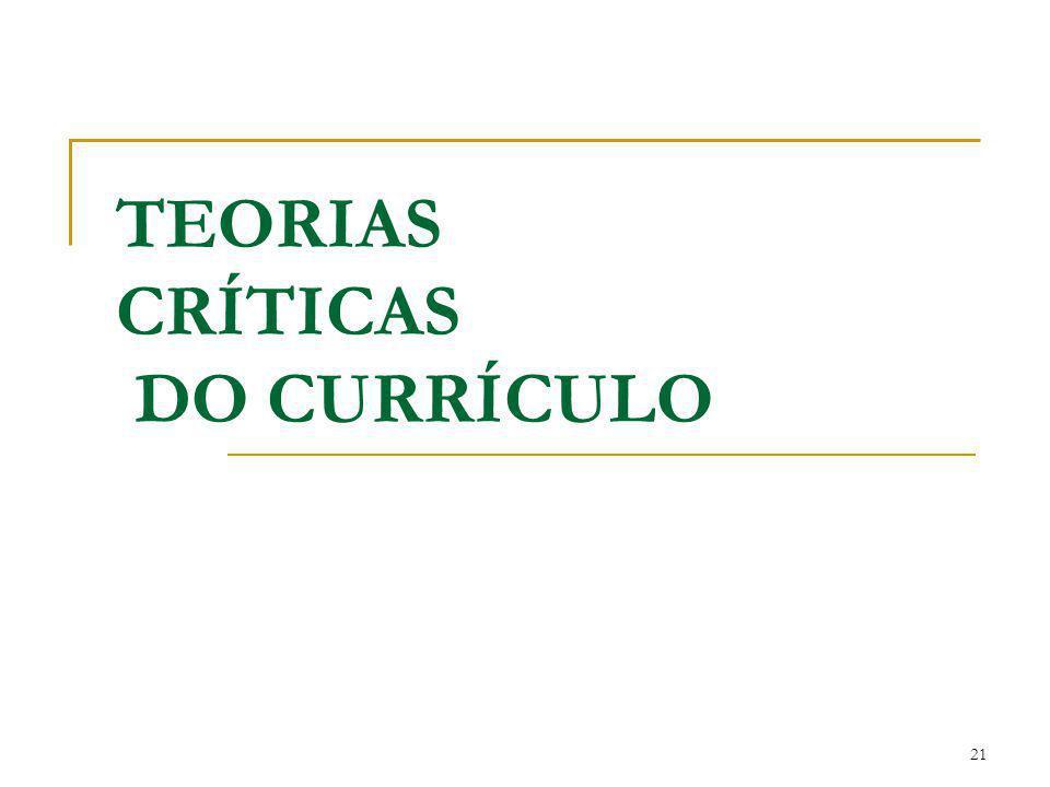 21 TEORIAS CRÍTICAS DO CURRÍCULO