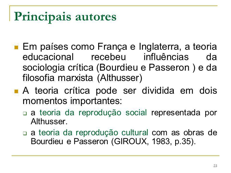 23 Principais autores Em países como França e Inglaterra, a teoria educacional recebeu influências da sociologia crítica (Bourdieu e Passeron ) e da f