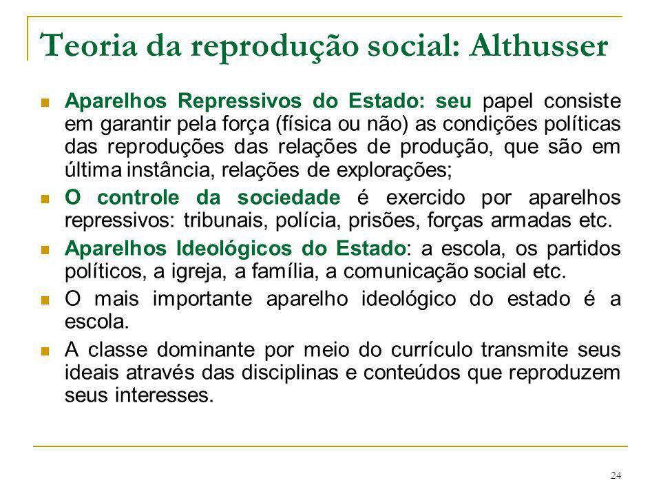24 Teoria da reprodução social: Althusser Aparelhos Repressivos do Estado: seu papel consiste em garantir pela força (física ou não) as condições polí
