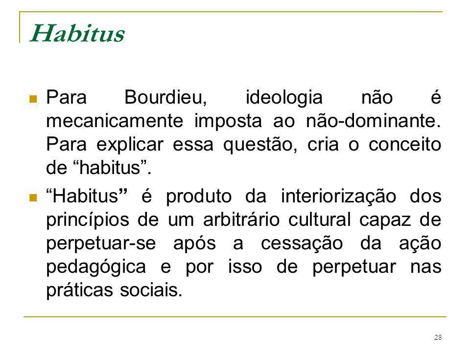 28 Habitus Para Bourdieu, ideologia não é mecanicamente imposta ao não-dominante. Para explicar essa questão, cria o conceito de habitus. Habitus é pr
