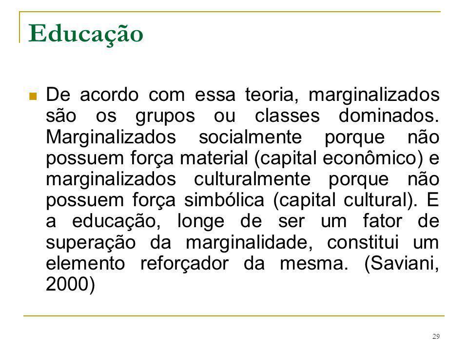 29 Educação De acordo com essa teoria, marginalizados são os grupos ou classes dominados. Marginalizados socialmente porque não possuem força material