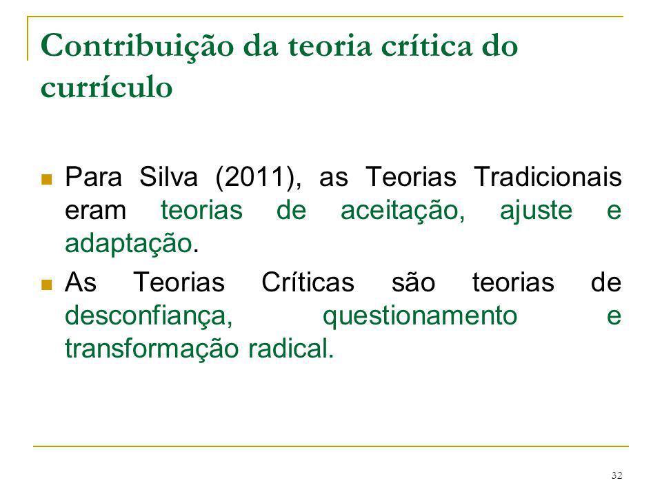 32 Contribuição da teoria crítica do currículo Para Silva (2011), as Teorias Tradicionais eram teorias de aceitação, ajuste e adaptação. As Teorias Cr