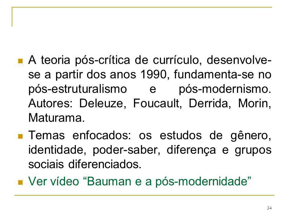 34 A teoria pós-crítica de currículo, desenvolve- se a partir dos anos 1990, fundamenta-se no pós-estruturalismo e pós-modernismo. Autores: Deleuze, F