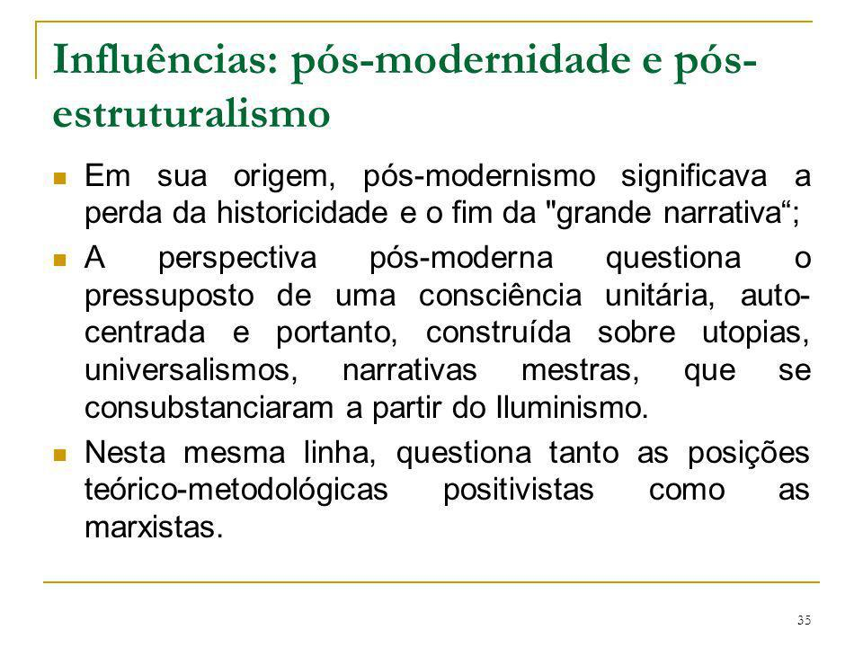 35 Influências: pós-modernidade e pós- estruturalismo Em sua origem, pós-modernismo significava a perda da historicidade e o fim da