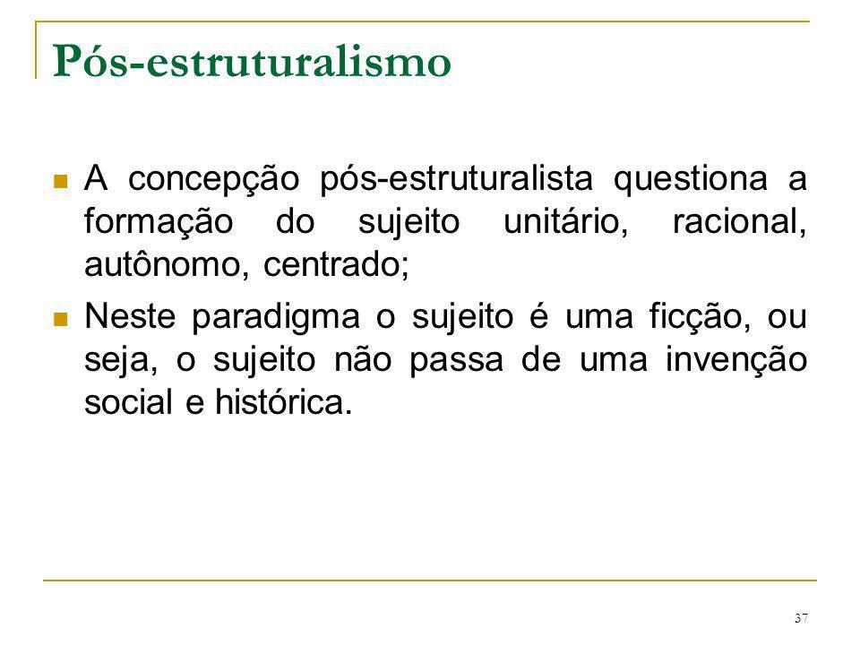 37 Pós-estruturalismo A concepção pós-estruturalista questiona a formação do sujeito unitário, racional, autônomo, centrado; Neste paradigma o sujeito