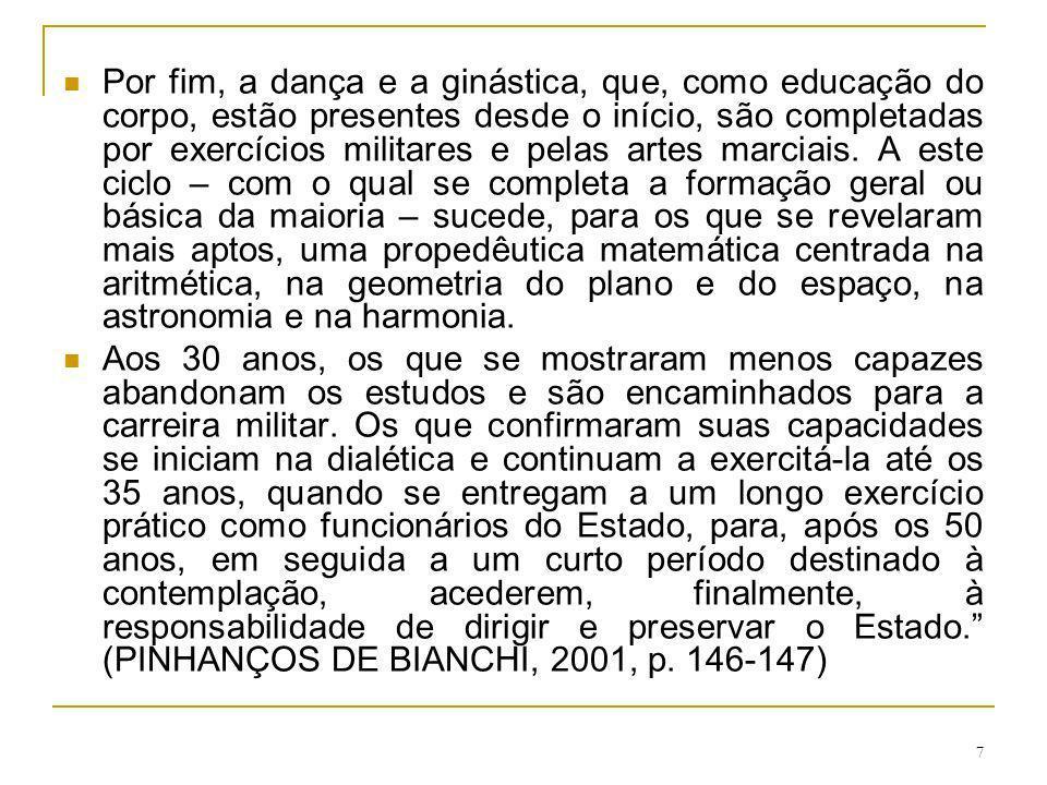 7 Por fim, a dança e a ginástica, que, como educação do corpo, estão presentes desde o início, são completadas por exercícios militares e pelas artes