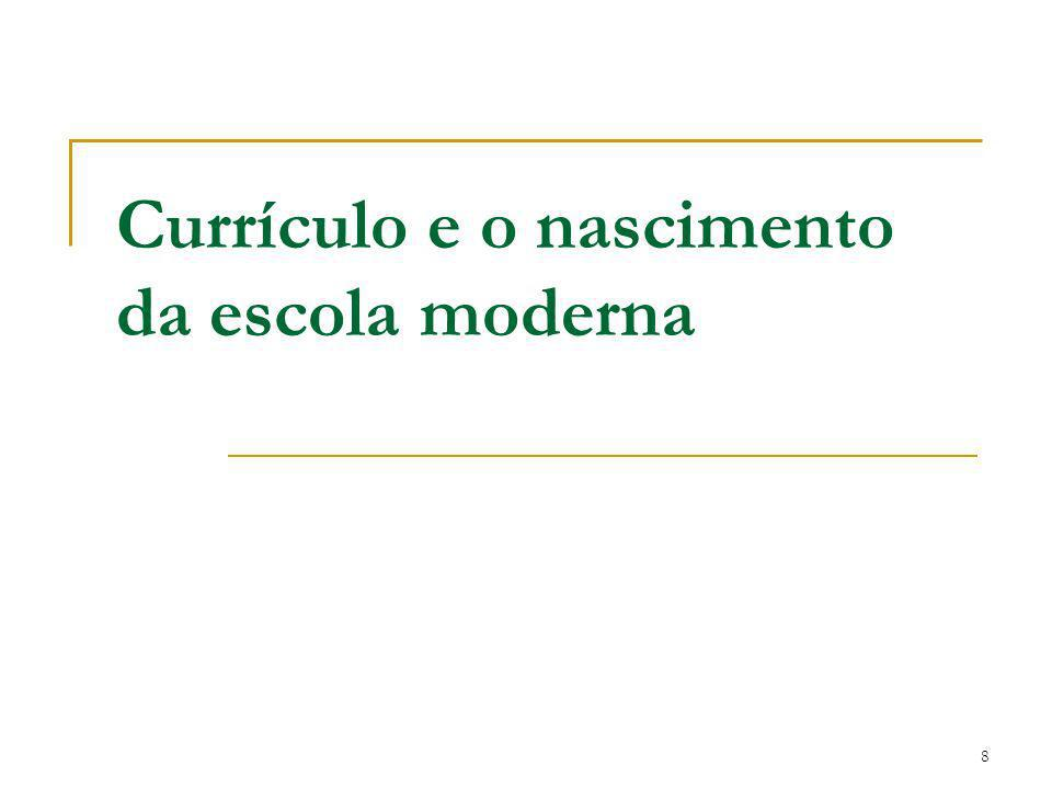 8 Currículo e o nascimento da escola moderna