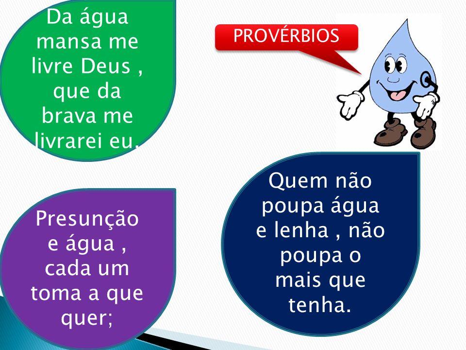 PROVÉRBIOS Da água mansa me livre Deus, que da brava me livrarei eu. Quem não poupa água e lenha, não poupa o mais que tenha. Presunção e água, cada u