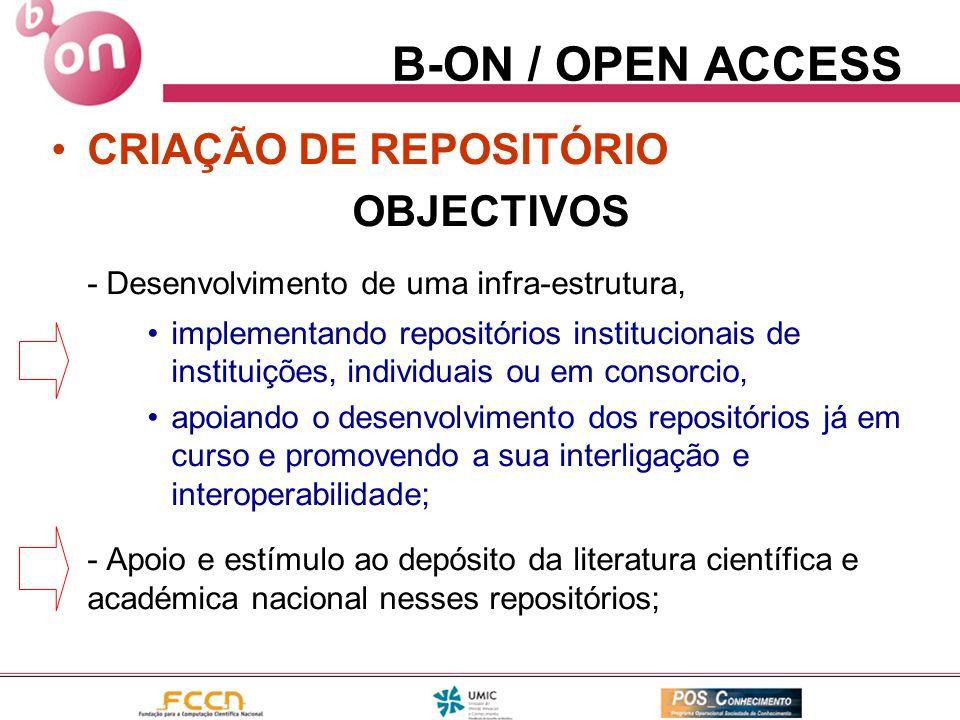 B-ON / OPEN ACCESS CRIAÇÃO DE REPOSITÓRIO OBJECTIVOS - Desenvolvimento de uma infra-estrutura, implementando repositórios institucionais de instituiçõ