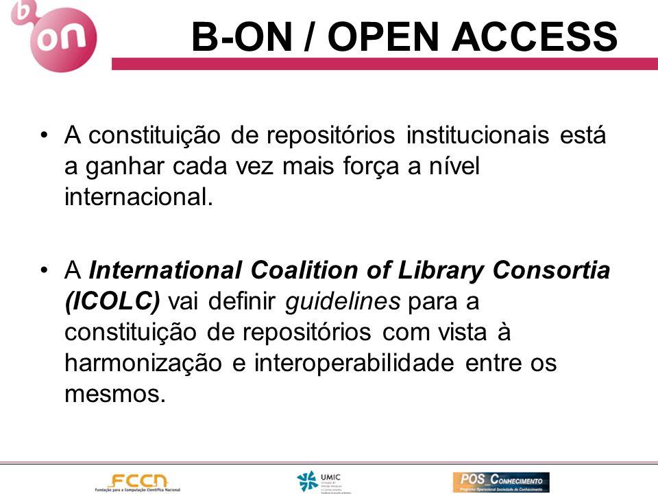 A constituição de repositórios institucionais está a ganhar cada vez mais força a nível internacional. A International Coalition of Library Consortia