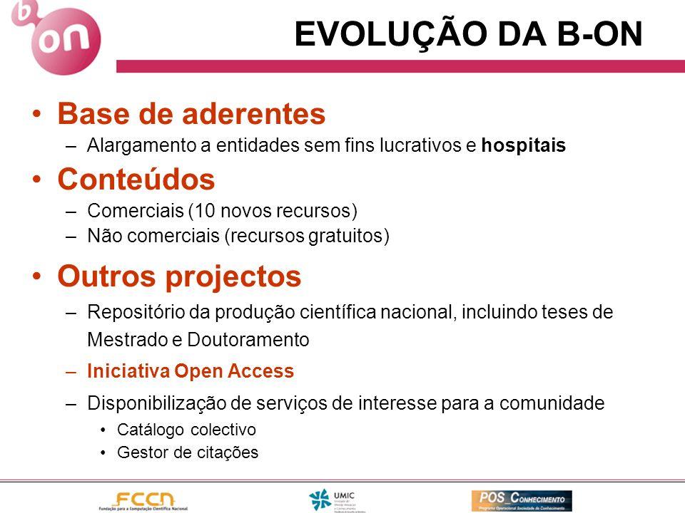 EVOLUÇÃO DA B-ON Base de aderentes –Alargamento a entidades sem fins lucrativos e hospitais Conteúdos –Comerciais (10 novos recursos) –Não comerciais