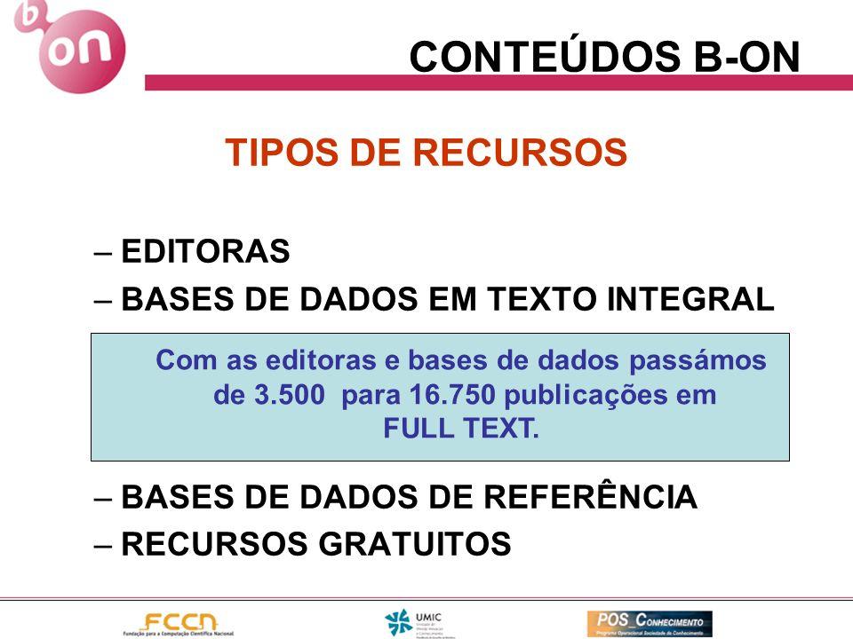 CONTEÚDOS B-ON TIPOS DE RECURSOS –EDITORAS –BASES DE DADOS EM TEXTO INTEGRAL –BASES DE DADOS DE REFERÊNCIA –RECURSOS GRATUITOS Com as editoras e bases