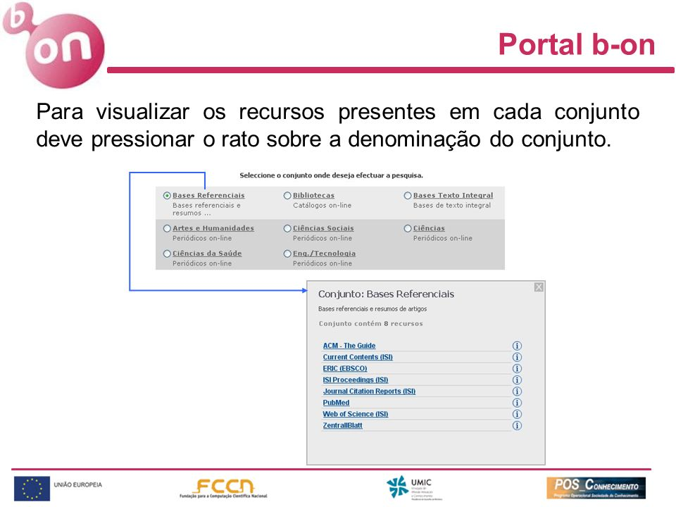 Portal b-on Para visualizar os recursos presentes em cada conjunto deve pressionar o rato sobre a denominação do conjunto.