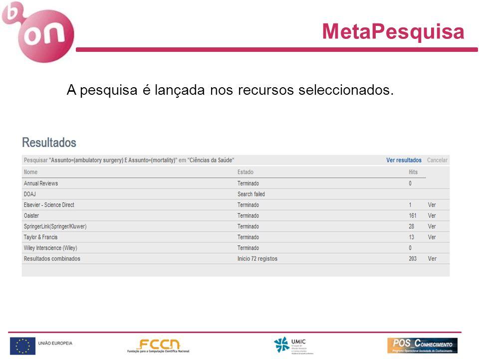 MetaPesquisa A pesquisa é lançada nos recursos seleccionados.