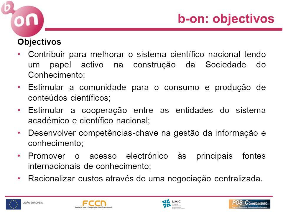 Estrutura administrativa Gestão, coordenação e financiamento –UMIC (Coordenação política) –POS-C (Entidade financiadora) –FCCN e WGs (Gestão operacional) FCCN (Gestãoope ) WGs (Ass e acons.) b-on POS-C (Financeira) UMIC (Política) Associações Participadas Associações participadas –ICOLC –SELL –COUNTER –IGeLU –USE Fornecedores Conteúdos Fornecedore s Tecnologia Fornecedores –Conteúdos –Tecnologia Comunidade de utilizadores –Ensino –I&D –Hospitalar –Administração pública –Entidades sem fins lucrativos