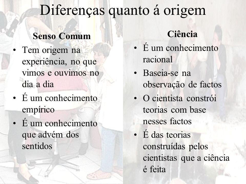 Diferenças quanto á origem Senso Comum Tem origem na experiência, no que vimos e ouvimos no dia a dia É um conhecimento empírico É um conhecimento que