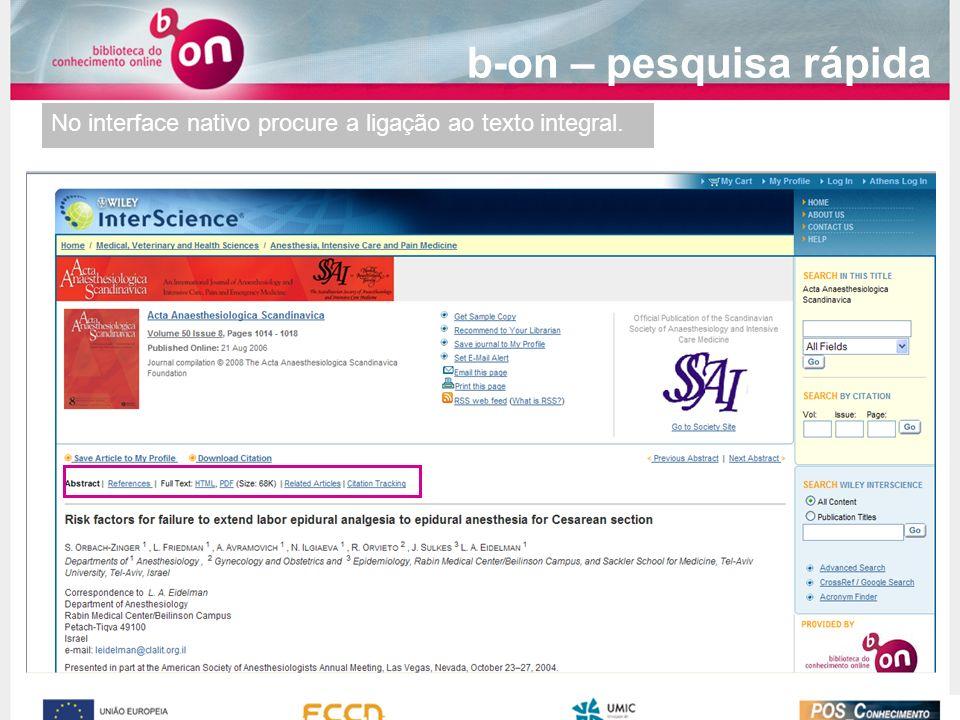 No interface nativo procure a ligação ao texto integral. b-on – pesquisa rápida