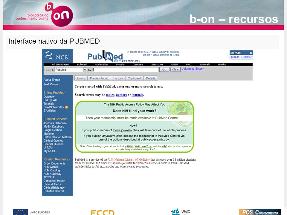 Interface nativo da PUBMED b-on – recursos