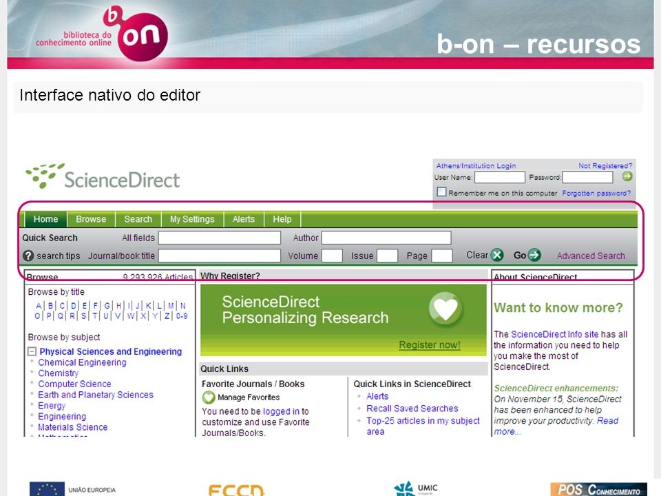 Interface nativo do editor b-on – recursos