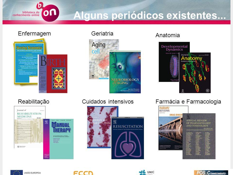 Alguns periódicos existentes... EnfermagemGeriatria ReabilitaçãoCuidados intensivos Anatomia Farmácia e Farmacologia