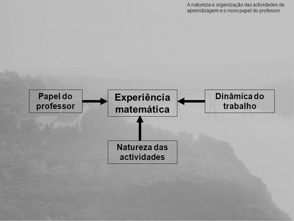 Experiência matemática Natureza das actividades Dinâmica do trabalho Papel do professor A natureza e organização das actividades de aprendizagem e o n