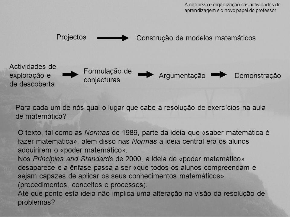 A natureza e organização das actividades de aprendizagem e o novo papel do professor Projectos Construção de modelos matemáticos Actividades de explor