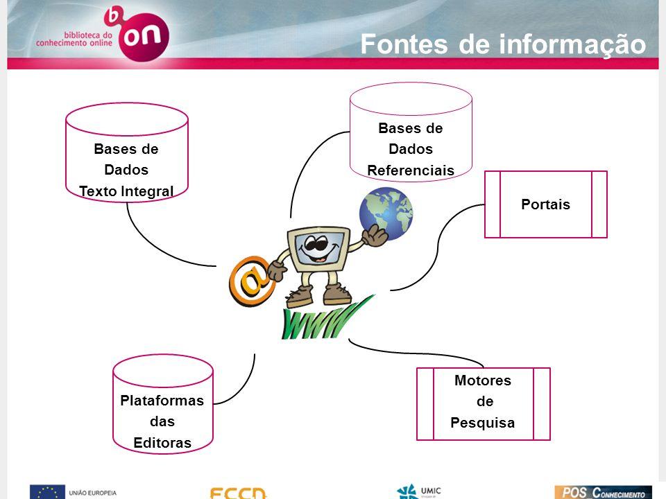 Fontes de informação Motores de Pesquisa Portais Bases de Dados Referenciais Bases de Dados Texto Integral Plataformas das Editoras