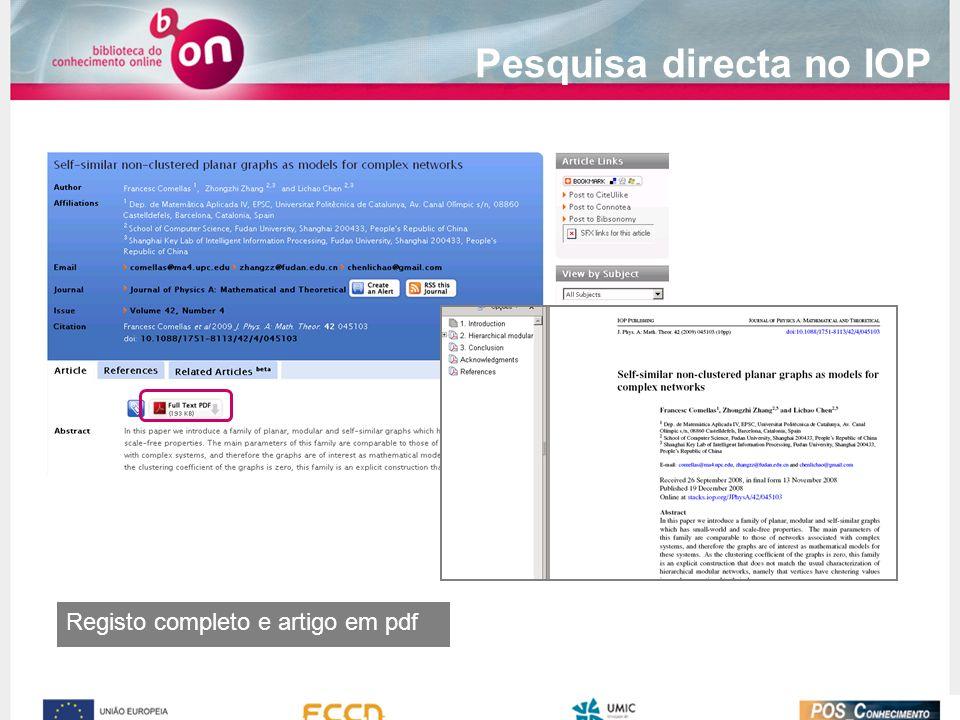 Registo completo e artigo em pdf Pesquisa directa no IOP