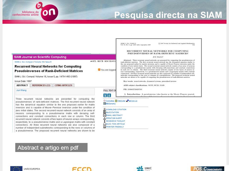 Abstract e artigo em pdf Pesquisa directa na SIAM