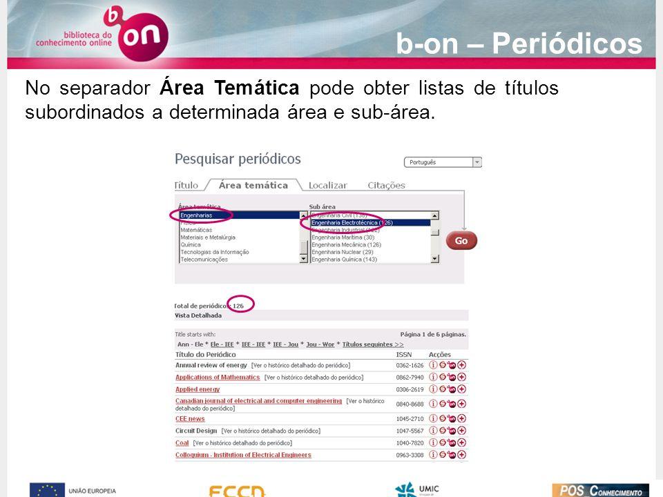 No separador Área Temática pode obter listas de títulos subordinados a determinada área e sub-área.