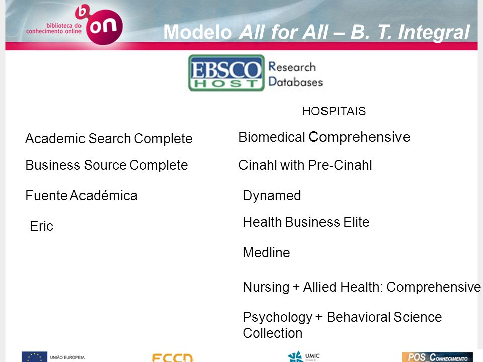 Academic Search Complete Business Source Complete Fuente Académica Medline Cinahl with Pre-Cinahl Dynamed Biomedical Comprehensive Nursing + Allied Health: Comprehensive Health Business Elite Psychology + Behavioral Science Collection Eric Modelo All for All – B.