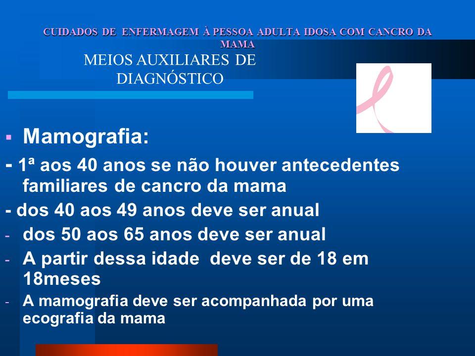 CUIDADOS DE ENFERMAGEM À PESSOA ADULTA IDOSA COM CANCRO DA MAMA Mamografia: - 1ª aos 40 anos se não houver antecedentes familiares de cancro da mama -