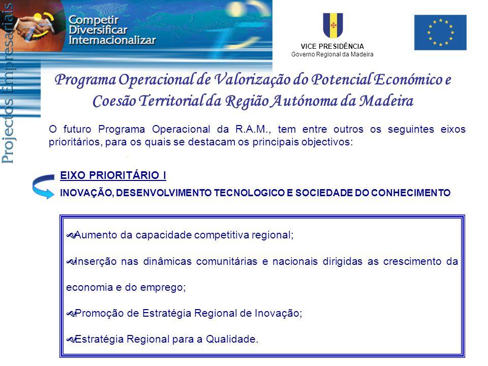 VICE PRESIDÊNCIA Governo Regional da Madeira Programa Operacional de Valorização do Potencial Económico e Coesão Territorial da Região Autónoma da Mad