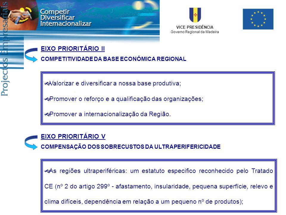 VICE PRESIDÊNCIA Governo Regional da Madeira EIXO PRIORITÁRIO II COMPETITIVIDADE DA BASE ECONÓMICA REGIONAL Valorizar e diversificar a nossa base prod