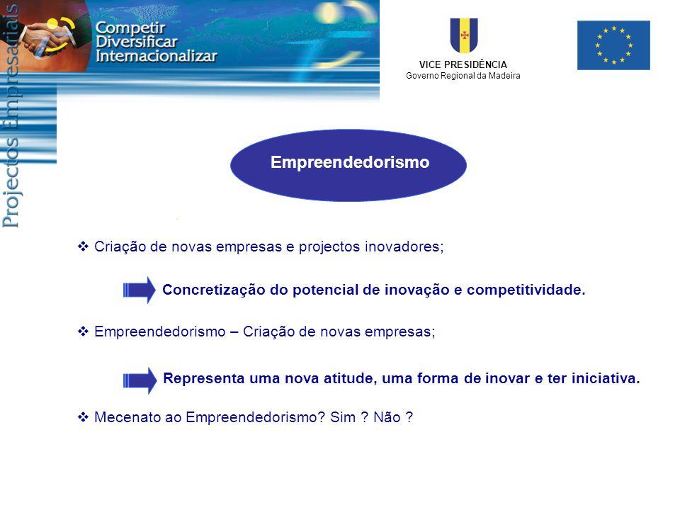 VICE PRESIDÊNCIA Governo Regional da Madeira Criação de novas empresas e projectos inovadores; Concretização do potencial de inovação e competitividad