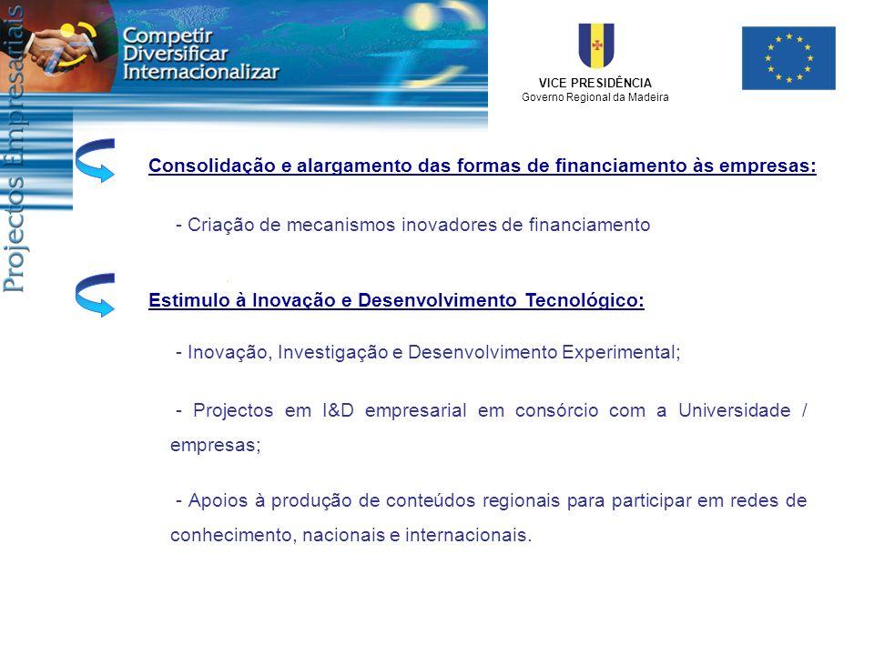 VICE PRESIDÊNCIA Governo Regional da Madeira Consolidação e alargamento das formas de financiamento às empresas:Estimulo à Inovação e Desenvolvimento