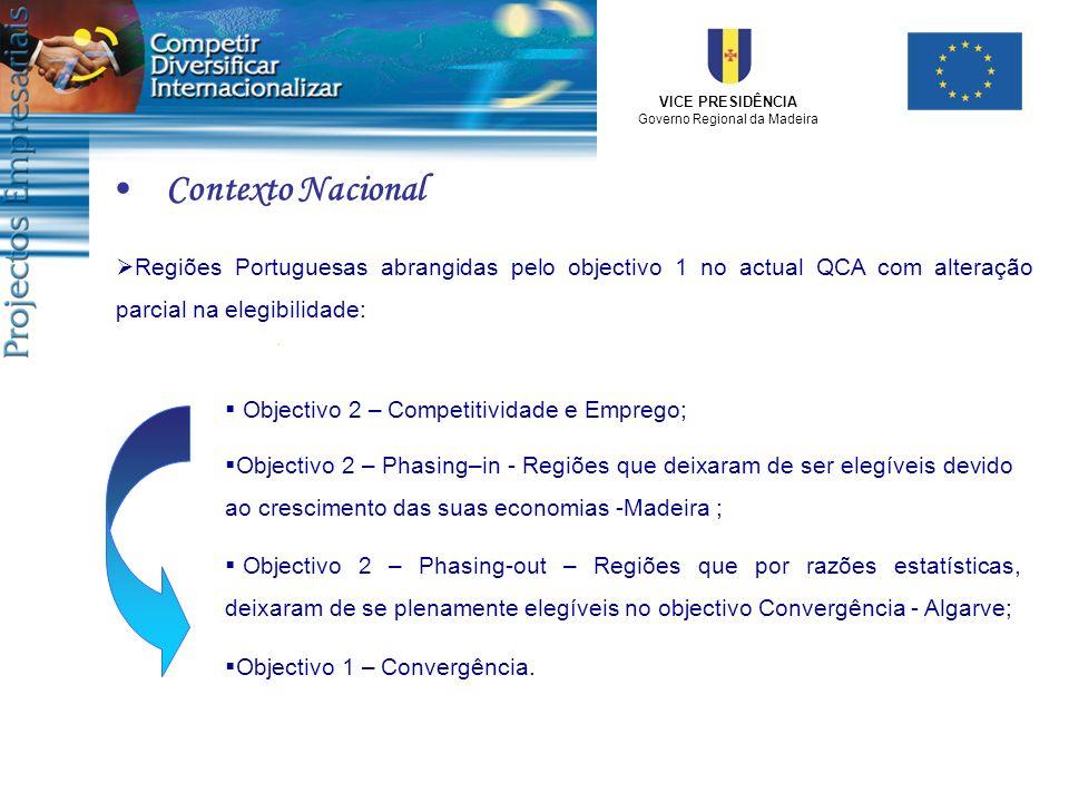 VICE PRESIDÊNCIA Governo Regional da Madeira Regiões Portuguesas abrangidas pelo objectivo 1 no actual QCA com alteração parcial na elegibilidade: Obj