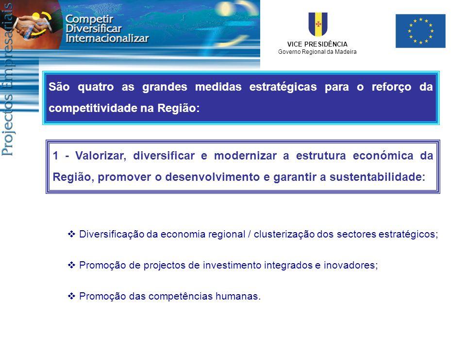 VICE PRESIDÊNCIA Governo Regional da Madeira 1 - Valorizar, diversificar e modernizar a estrutura económica da Região, promover o desenvolvimento e ga