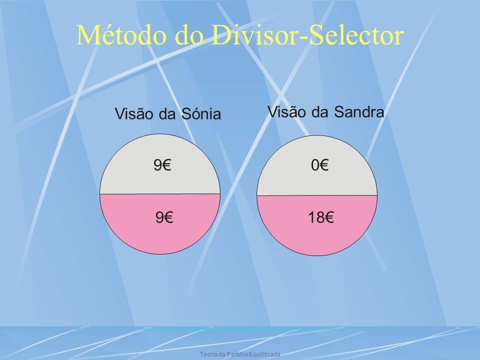 Teoria da Partilha Equlilbrada Método do Divisor-Selector Visão da Sónia 9 9 Visão da Sandra 0 18