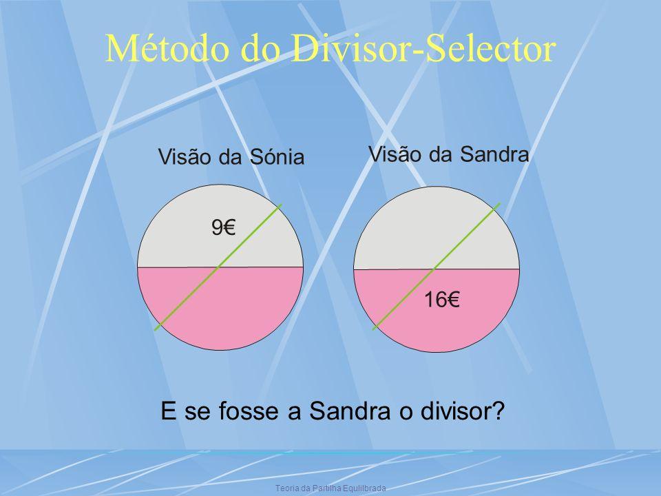 Teoria da Partilha Equlilbrada Método do Divisor-Selector Visão da Sónia 9 Visão da Sandra 16 E se fosse a Sandra o divisor?