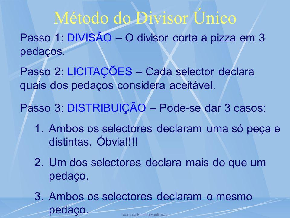 Teoria da Partilha Equlilbrada Método do Divisor Único Passo 1: DIVISÃO – O divisor corta a pizza em 3 pedaços. Passo 2: LICITAÇÕES – Cada selector de