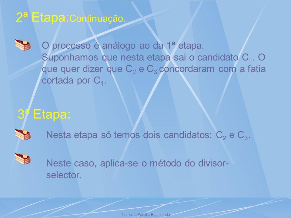 Teoria da Partilha Equlilbrada 2ª Etapa: Continuação. O processo é análogo ao da 1ª etapa. Suponhamos que nesta etapa sai o candidato C 1. O que quer