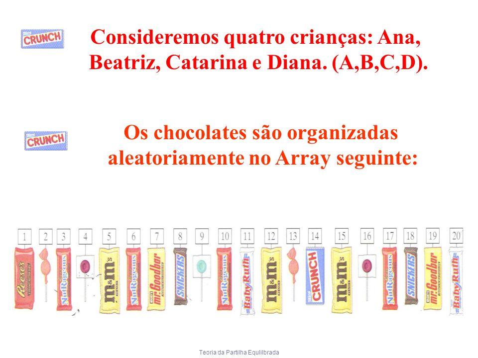 Teoria da Partilha Equlilbrada Consideremos quatro crianças: Ana, Beatriz, Catarina e Diana. (A,B,C,D). Os chocolates são organizadas aleatoriamente n