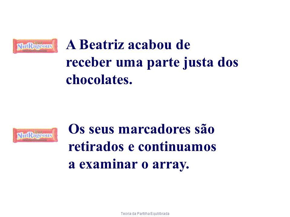 Teoria da Partilha Equlilbrada A Beatriz acabou de receber uma parte justa dos chocolates. Os seus marcadores são retirados e continuamos a examinar o