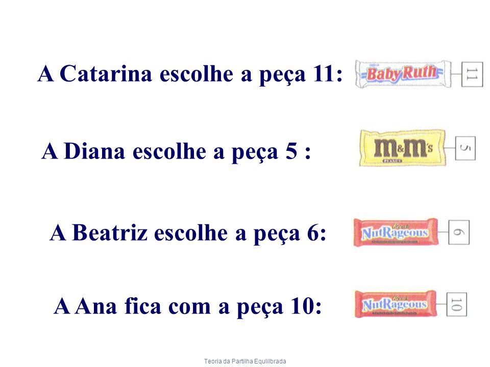 Teoria da Partilha Equlilbrada A Catarina escolhe a peça 11: A Diana escolhe a peça 5 : A Beatriz escolhe a peça 6: A Ana fica com a peça 10: