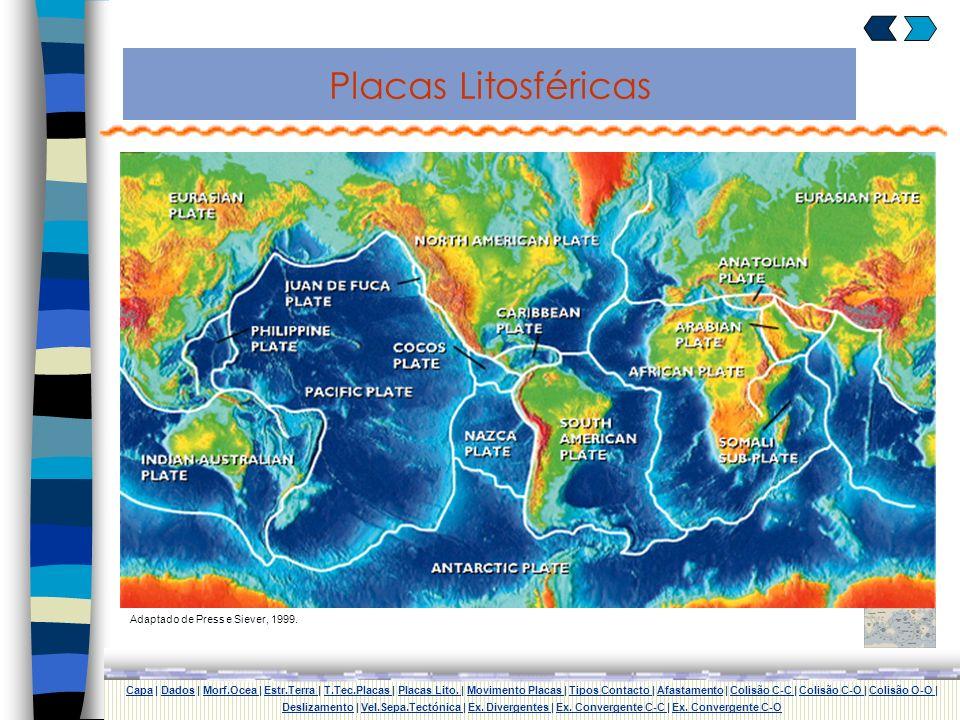 Teoria da Tectónica de Placas Segundo a Teoria da Tectónica de Placas a litosfera encontra-se dividida em várias placas que se movem umas em relação à