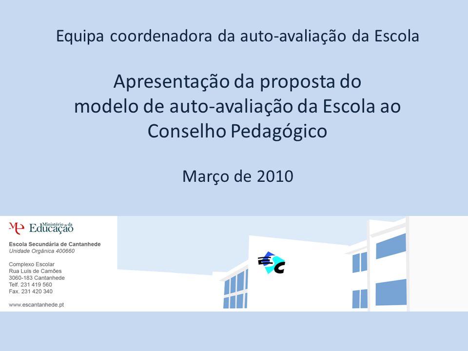 Equipa coordenadora da auto-avaliação da Escola Apresentação da proposta do modelo de auto-avaliação da Escola ao Conselho Pedagógico Março de 2010
