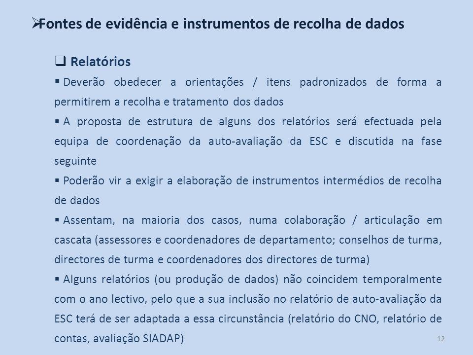 12 Fontes de evidência e instrumentos de recolha de dados Relatórios Deverão obedecer a orientações / itens padronizados de forma a permitirem a recol
