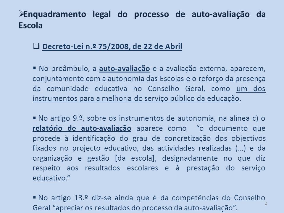 2 Enquadramento legal do processo de auto-avaliação da Escola Decreto-Lei n.º 75/2008, de 22 de Abril No preâmbulo, a auto-avaliação e a avaliação ext